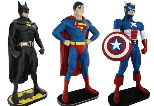 1501 LIFE LIKE FIBERGLASS BATMAN SUPERMAN CAPTAIN AMERICA STATUES