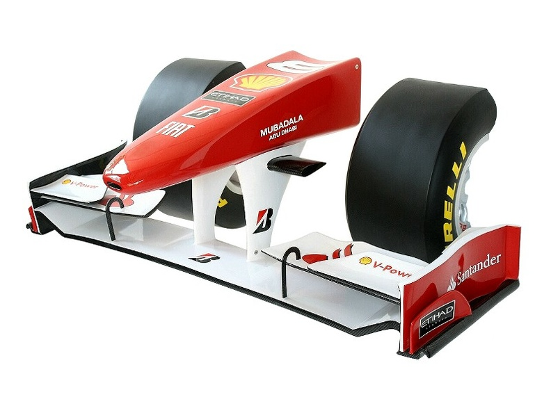 09_FULL_SIZE_FORMULA_ONE_NOSE_CONE_WITH_HALF_TIRES_BBS_RIMS_WALL_MOUNTED.JPG