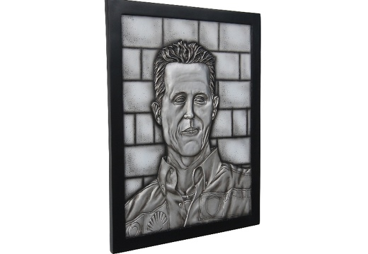 N6244 3D EMBOSSED MICHAEL SCHUMACHER F1 DRIVER SIGN ON SILVER BRICK EFFECT WALL MOUNTED 3