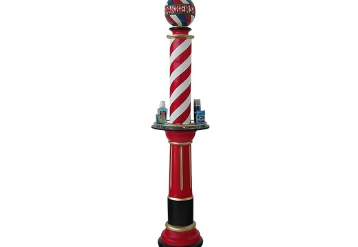 B0724A RED WHITE BARBER SHOP VINTAGE POLE WITH SHELF