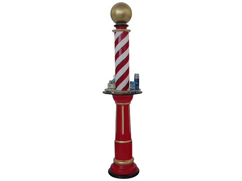 B0726A_RED_WHITE_BARBER_SHOP_VINTAGE_POLE_WITH_SHELF.JPG