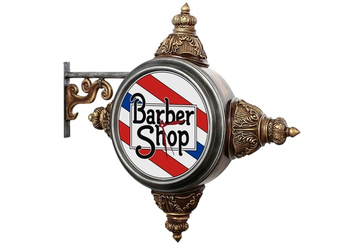 BJM0162 METAL BRACKET VINTAGE BARBER SIGN BUILT IN LIGHT CLOCK GOLD EFFECT 2