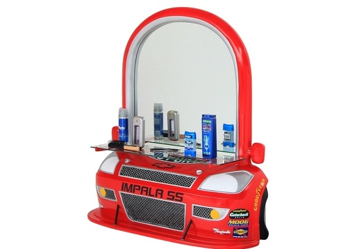 BJM0179 RED CHEVY IMPALA BARBER SALON CAR WORK STATION MIRROR SHELF