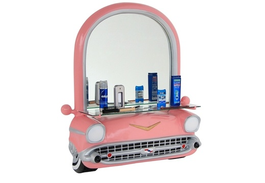 BJM0180 PINK VINTAGE CHEVROLET BARBER SALON CAR WORK STATION MIRROR SHELF