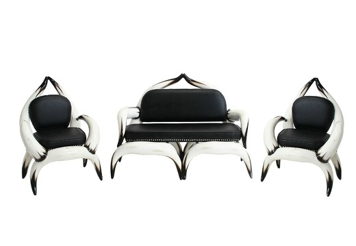 ARB001 BULL HORN SOFA TWO ARM CHAIRS WITH BLACK LEATHER STUDDED UPHOLSTERY