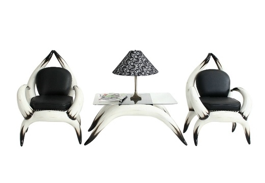 ARB002 BULL HORN ARM CHAIRS WITH BLACK LEATHER STUDDED UPHOLSTERY SIDE COFFEE TABLE