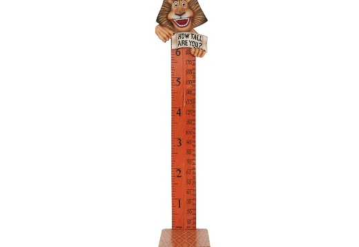 B0416 FRIENDLY FUNNY LION HOW TALL ARE YOU RULER ON A BASE 1