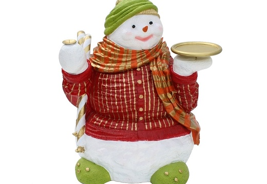 1507 FAT FUNNY CHRISTMAS SNOW MAN WITH TRAY CANDLE HOLDER