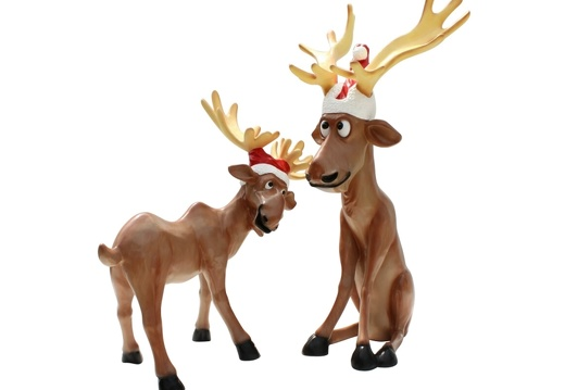1510 FUNNY CHRISTMAS REINDEER STATUES