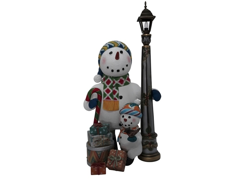 1635_CHRISTMAS_SNOWMAN_STATUE_LAMPOST_WITH_BABY_SNOWMAN_1.JPG