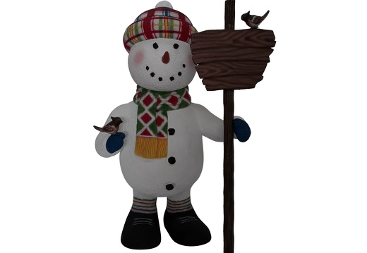1651 FUNNY CHRISTMAS SNOWMAN STATUE HOLDING WOODEN SIGN 1
