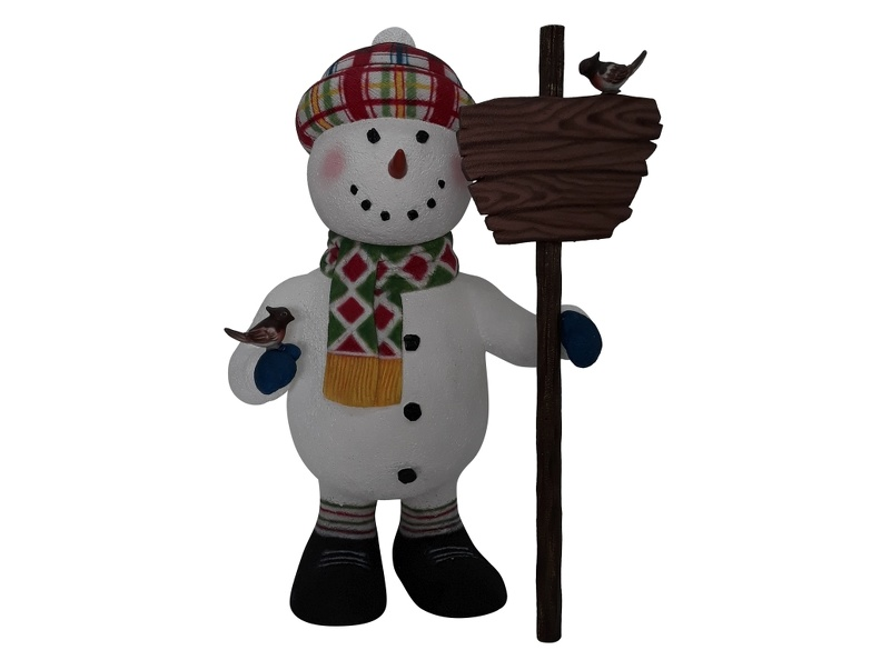 1651_FUNNY_CHRISTMAS_SNOWMAN_STATUE_HOLDING_WOODEN_SIGN_1.JPG