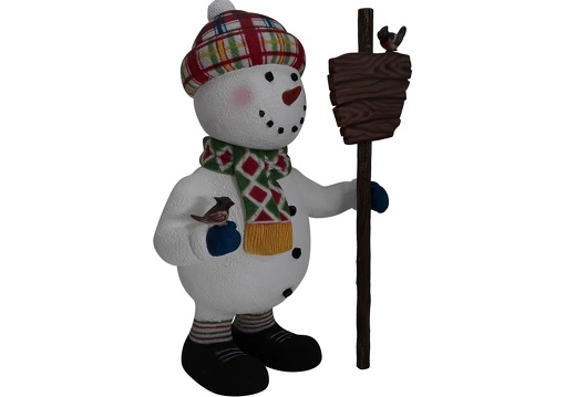 1651 FUNNY CHRISTMAS SNOWMAN STATUE HOLDING WOODEN SIGN 2