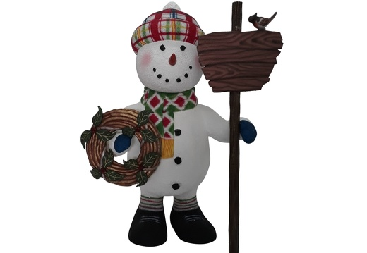 1652 CHRISTMAS SNOWMAN STATUE HOLDING WOODEN SIGN CHRISTMAS DECORATION 1