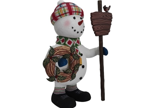 1652 CHRISTMAS SNOWMAN STATUE HOLDING WOODEN SIGN CHRISTMAS DECORATION 2