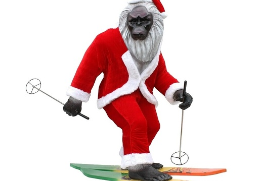 1705 SANTA CLAUSE LIFE SIZE ABOMINABLE SNOWMAN SKIING