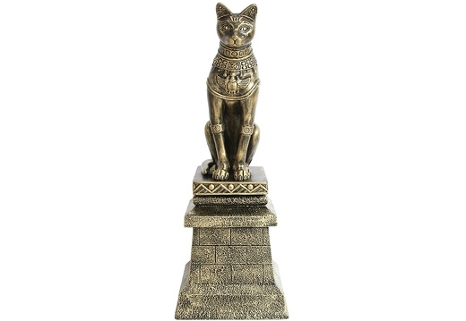 JBEGY003 GOLD EGYPTIAN PHARAOHS TEMPLE CAT ON FIBERGLASS BRICK STAND 1