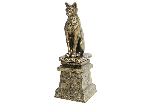 JBEGY003 GOLD EGYPTIAN PHARAOHS TEMPLE CAT ON FIBERGLASS BRICK STAND 2