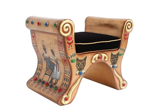 JBEGY007 GOLD EGYPTIAN PHARAOHS CHAIR BLACK VELVET CUSHION 2