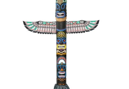 1535 INDIAN TOTEM POLL ON FIBERGLASS ROCK BASE 12 FOOT TALL