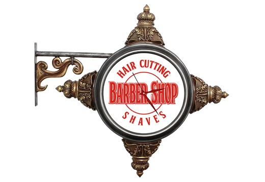 BJM0160 METAL BRACKET VINTAGE BARBER SIGN BUILT IN LIGHT CLOCK GOLD EFFECT 1