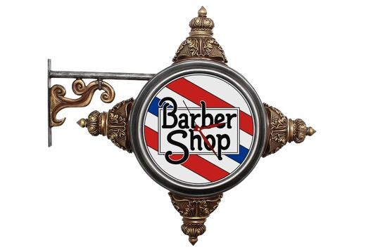 BJM0162 METAL BRACKET VINTAGE BARBER SIGN BUILT IN LIGHT CLOCK GOLD EFFECT