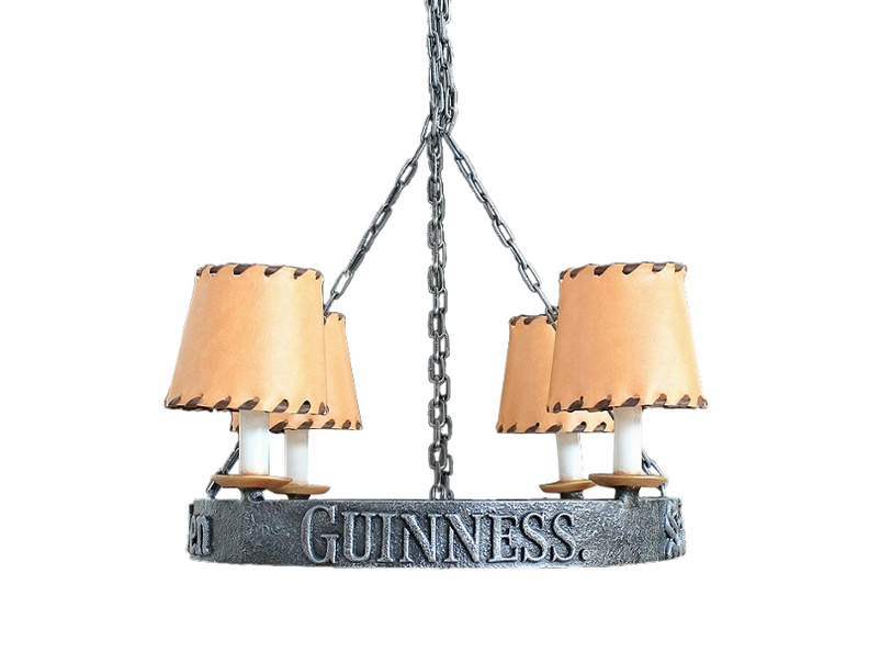 JJ119_WROUGHT_IRON_EFFECT_CHANDELIER_4_CANDLE_LAMPS_LEATHER_LIGHT_SHADES_GUINNESS.JPG