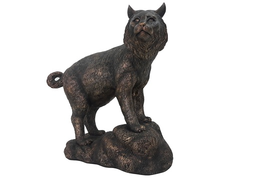 020262 BRONZE BOB CAT LIFE SIZE LIFE LIKE ANIMAL STATUE 1