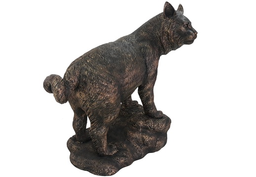 020262 BRONZE BOB CAT LIFE SIZE LIFE LIKE ANIMAL STATUE 5