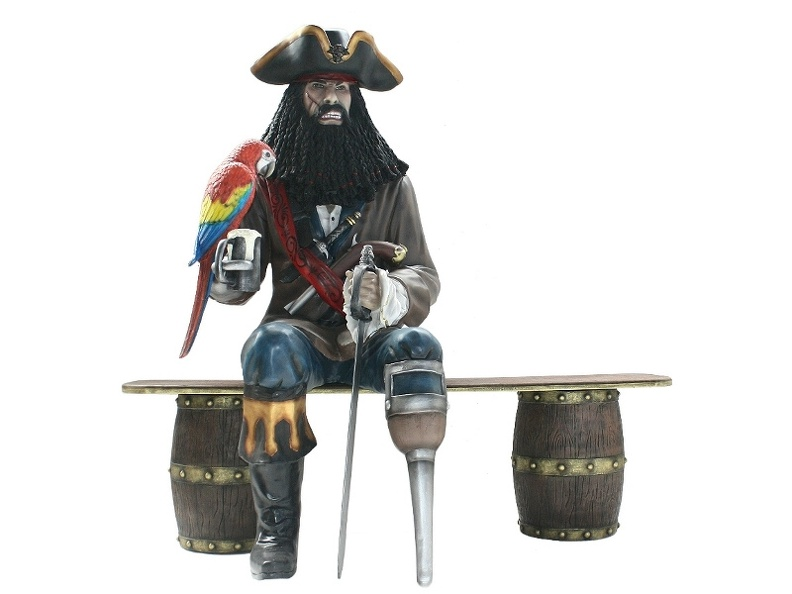 JBP044_LIFE_SIZE_BLACK_BEARD_PIRATE_LIFE_SIZE_PARROT_SAT_ON_WOOD_EFFECT_BARREL_BENCH_1.JPG