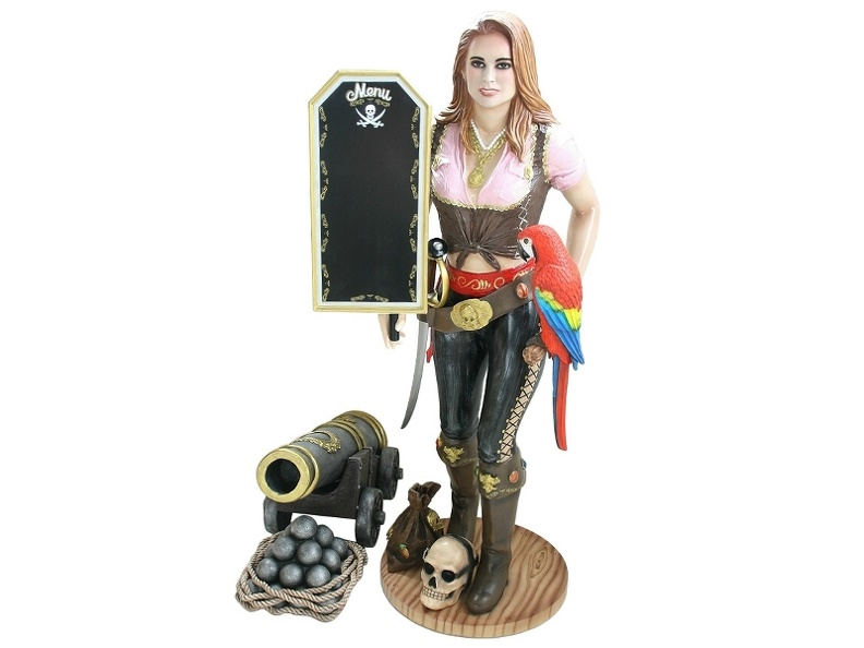JBP074_LIFE_SIZE_ANNE_BONNY_LADY_PIRATE_WITH_ADVERTISING_BOARD_LIFE_SIZE_PARROT_LIFE_SIZE_CANNON.JPG