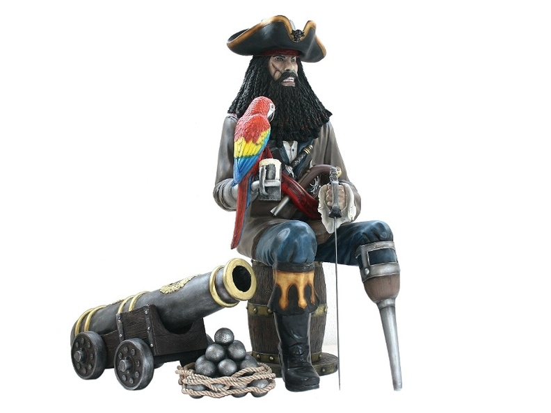 JBP083_LIFE_SIZE_BLACK_BEARD_PIRATE_LIFE_SIZE_CANNON_LIFE_SIZE_PARROT_SAT_ON_WOOD_EFFECT_BARREL.JPG