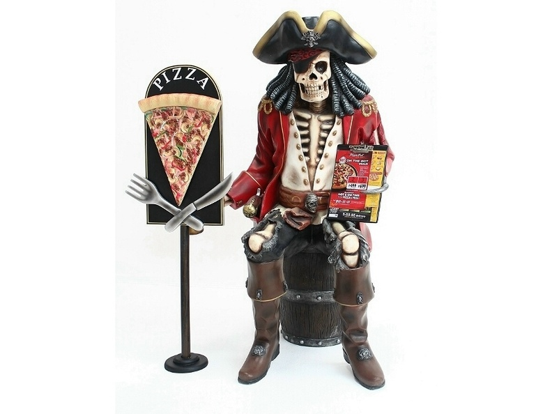 JBP120_LIFE_SIZE_JACK_SPARROW_SKELETON_PIRATE_SAT_ON_BARREL_DELICIOUS_LOOKING_PIZZA_SLICE_ADVERTISING_BOARD_1.JPG