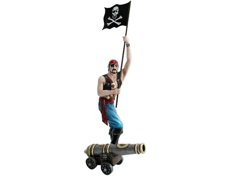 JBP130_LIFE_SIZE_SHIPS_PIRATE_WITH_EYE_PATCH_CANNON_HOLDING_A_PIRATES_FLAG.JPG