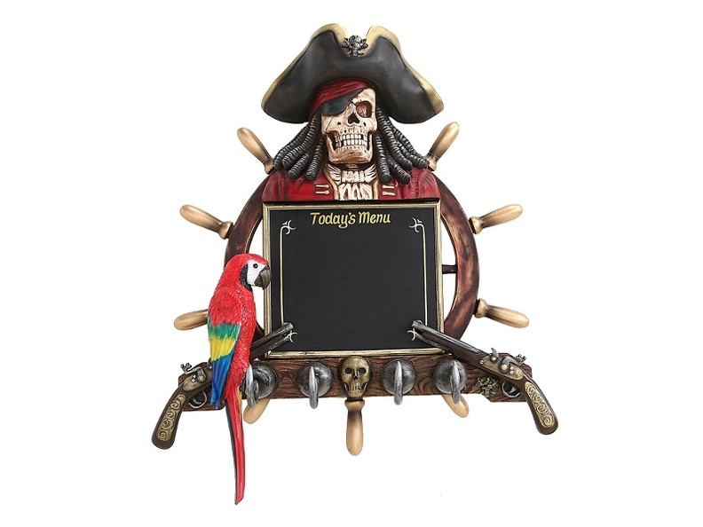 JBP195_ANTIQUE_SHIPS_WHEEL_MENU_BOARD_PIRATES_GUNS_SKELETON_PIRATE_4_HOOK_COAT_HAT_HANGER_PARROT.JPG