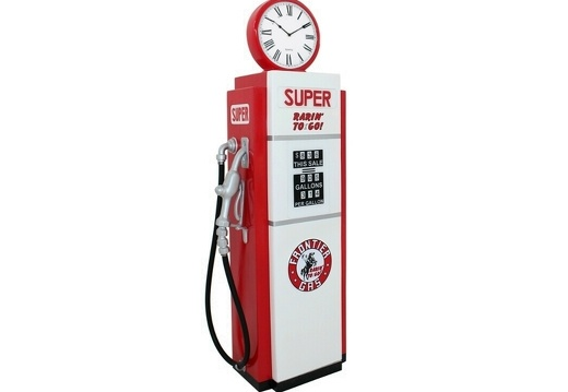BJM0072 RED WHITE GAS PUMP WITH BUILT IN SHELVES WORKING CLOCK CLOCK AVAILABLE ON ALL GAS PUMPS 2