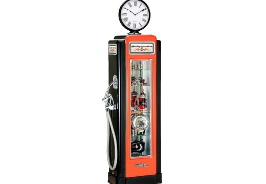 BJM0073 HARLEY-DAVISON GAS PUMPS WITH BUILT IN SHELVES WORKING CLOCK CLOCK AVAILABLE ON ALL GAS PUMPS