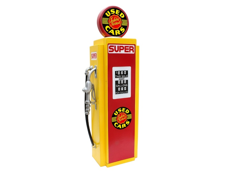 JBA3F149_USED_SAFETY_TESTED_CARS_VINTAGE_GAS_PUMP_WITH_OPENING_DOOR_BUILT_IN_SHELFS_YELLOW_RED_1.JPG