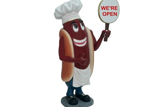 1627 FUNNY CHEF HOT DOG ADVERTISING SIGN STATUE 2