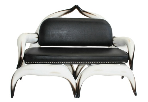 ARB003 - Bull Horn Sofa With Black Leather Studded Upholstery - 1