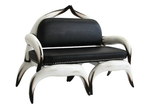 ARB003 - Bull Horn Sofa With Black Leather Studded Upholstery - 2