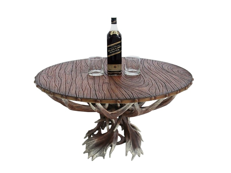 JBF031A - Antler Horn Table & Dark Wood Effect Table Top.jpg