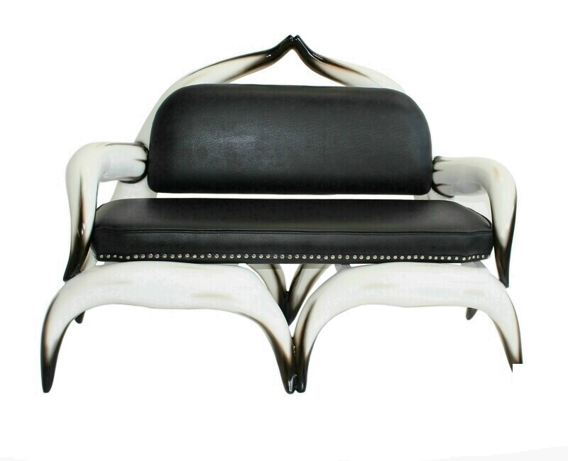 Bull Horn Sofa & Black Leather Studded Upholstery
