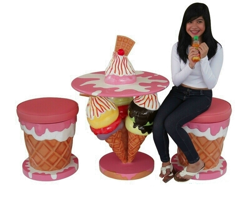 Ice Cream Dining Set Table Chairs & Stools