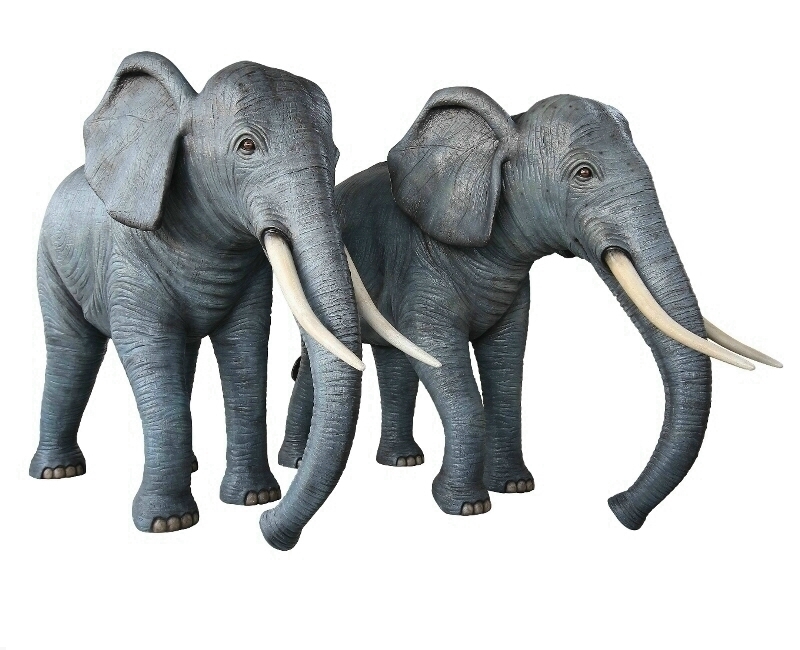 Life Size Male & Female Fiberglass Elephants