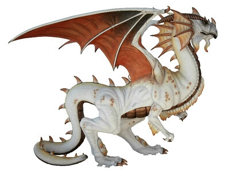 Life Size White Mystical Dragon Statue